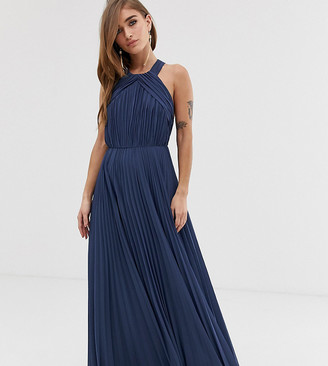 Asos DESIGN Petite pleated bodice halter maxi dress