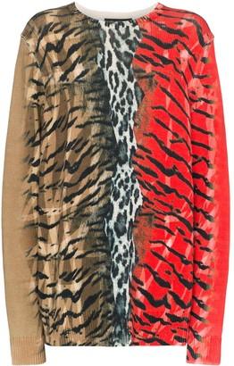 Neil Barrett mixed animal print jumper