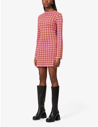 NEVER FULLY DRESSED Mosaic-pattern stretch-woven mini dress