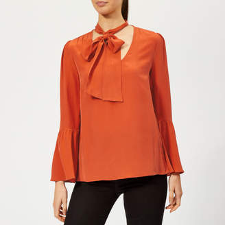 MICHAEL Michael Kors Women's Bell Sleeve Silk Top - Bright Terra Cotta - L - Orange