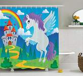 Kids Decor Shower Curtain by Ambesonne, Fantasy Myth Unicorn with Rainbow and Medieval Castle Fairy Tale Cartoon Design, Fabric Bathroom Decor Set with Hooks, 70 Inches, Multicolor