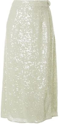 Sally LaPointe Sequin Belted Wrap Skirt