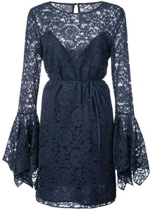 Zac Posen lace pattern flared design dress
