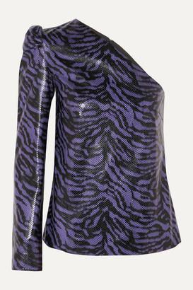 Stand Studio Pernille Teisbaek Michelle One-sleeve Zebra-print Faux Leather Top - Purple