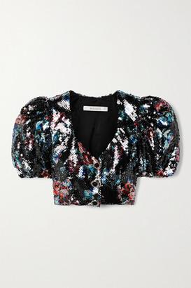 Rodarte Cropped Sequined Tulle Top - Black