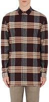 Helmut Lang Men's Plaid Flannel Shirt-BURGUNDY