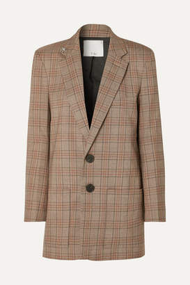 Tibi James Embellished Checked Woven Blazer - Brown
