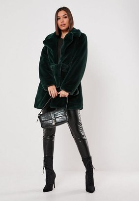 Missguided Green Faux Fur Belted Coat