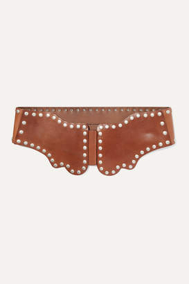 Isabel Marant Koya Studded Leather Waist Belt - Brown
