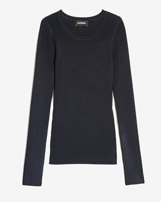 Express Fitted Ribbed Crew Neck Sweater
