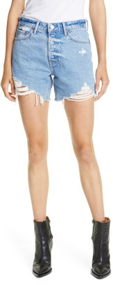GRLFRND Jourdan Distressed Cutoff Denim Shorts
