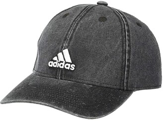 adidas Saturday Plus Denim Relaxed Adjustable Cap (Black Denim/White) Baseball Caps