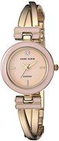 Anne Klein Women's AK/2622LPGB Diamond-Accented Gold-Tone Crossover Bangle Watch