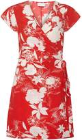 Vila **Vila Red And White Abstract Floral Print Wrap Dress