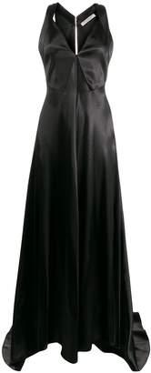 Philosophy di Lorenzo Serafini V-neck waxed satin gown