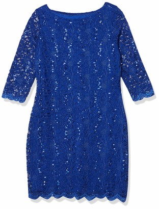 Tiana B T I A N A B. Women's Petite Sequin Lace Shift Dress with 3/4 Sleeves