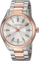 Nautica Men's 'BOSTON FLAGS' Quartz Stainless Steel Casual Watch, Color:-Toned (Model: NAPBST005)