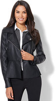 New York & Co. Faux-Leather Peplum Moto Jacket
