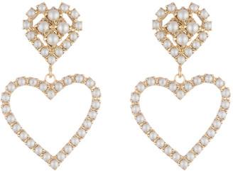 Dannijo Fiona Pearly Heart-Drop Earrings