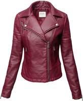 Luna Flower Wine Pu Faux leather Zipper Biker Leather Jackets