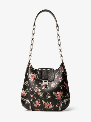 Michael Kors Bancroft Oversized Floral Calf Leather and Snakeskin Shoulder Bag