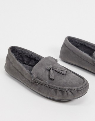ASOS DESIGN moccasin slippers in grey with faux fur lining