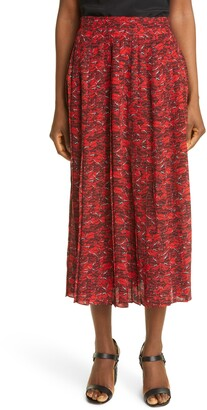 Valentino Le Rouge Print Pleated Silk Crepe de Chine Skirt