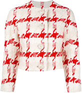 Alexander McQueen houndstooth cropped jacket - women - Silk/Cotton/Linen/Flax/Viscose - 38
