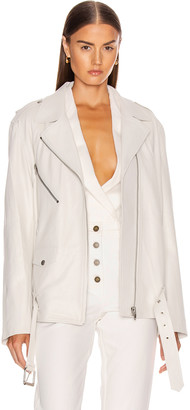 ZEYNEP ARCAY Oversized Leather Biker Jacket in White | FWRD
