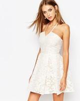 Missguided Lace Halter Skater Dress