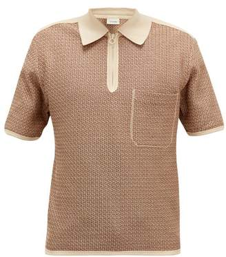 Lemaire Geometric-knitted Cotton Polo Shirt - Mens - Brown Multi