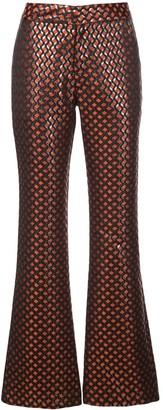 Cynthia Rowley Theo jacquard flared trousers
