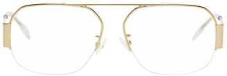 Bottega Veneta Gold Rectangular Glasses