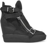 Ash Aroma buckled leather and suede wedge sneakers