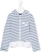 Miss Blumarine striped zipped hoodie - kids - Cotton/Acrylic/Polyamide/Viscose - 4 yrs