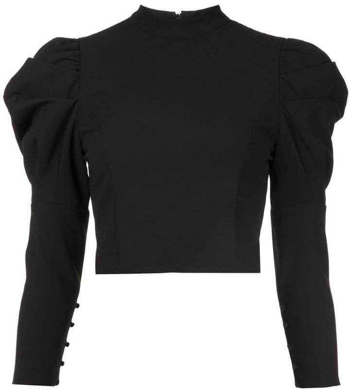 374d074e6d6 Black Puff Sleeve Top - ShopStyle