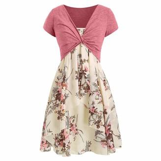 SANFASHION Women Casual Summer Cami Flower Dress with Crop T-Shirt(Beige XL)