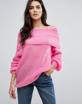Warehouse Deep Bardot Mohair Sweater