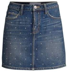 Current/Elliott Studded Denim Mini Skirt