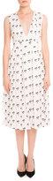 Victoria Beckham Sleeveless Pleated Daisy-Print Midi Dress, Multi