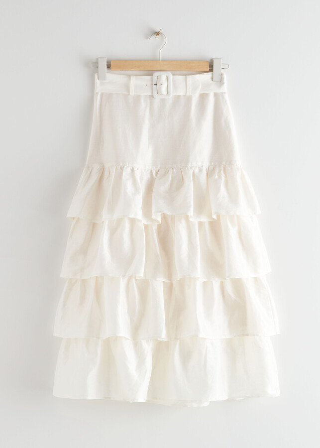 Thumbnail for your product : And other stories Belted Ruffle Midi Skirt
