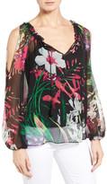 Elie Tahari Silk Floral Cold Shoulder Blouse