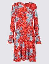 Marks and Spencer Floral Print Ruffle Long Sleeve Swing Dress