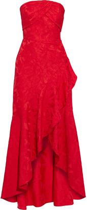 ML Monique Lhuillier Asymmetric Strapless Ruffled Brocade Gown