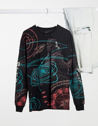 Grimey oversized long sleeve T-shirt with galaxy print