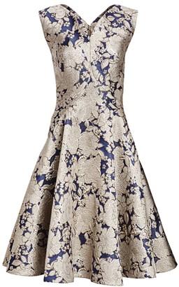 Zac Posen Metallic Jacquard Cocktail Dress