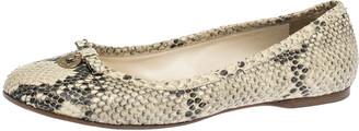 Fendi Beige/Black Python Leather Bow Detail Ballet Flats Size 41
