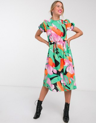 Lost Ink midi dress with puff sleeves and open back in large scale floral