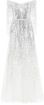 Marchesa Off-the-shoulder sequined gown