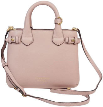 Burberry Pink Leather Small Banner Satchel